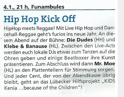 Ultimo Lübeck Januar 2014 - Hip Hop & Reggae Soli Jam - Die Dudes (HH)