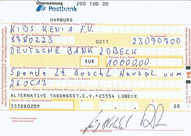 Alternative Tagungsstätte e.V. spendet 10.000 Euro