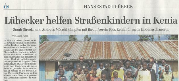 Luebecker Nachrichten: Lübecker helfen Straßenkindern in Kenia