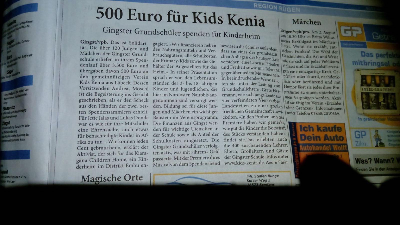 KIDS Kenia - 500 Euro von der Grundschule Gingst
