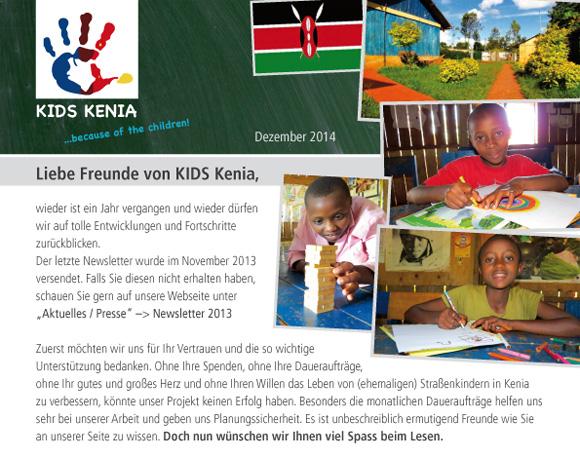 Unser Newsletter 2014 - KIDS Kenia sagt: Vielen Dank - Thank You - Asante Sana