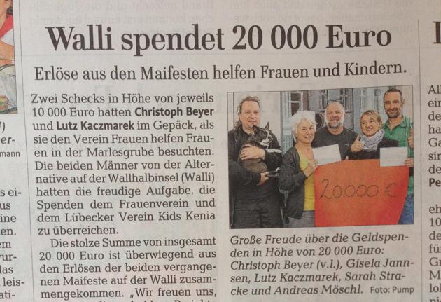 Lübecker Nachrichten - Erlöse aus dem Maifest helfen Frauen und Kindern.